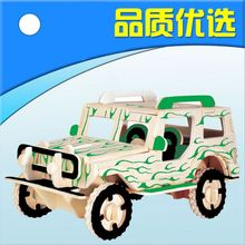 3D wood simulation car model jeep three-dimensional puzzle diy assemble toy creative gift free shipping