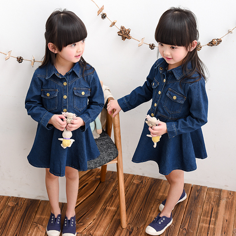 new 2017 little girl dresses long sleeve spring turn-down Denim dress for kids costumes 2-8 years princess dress clothes <br><br>Aliexpress