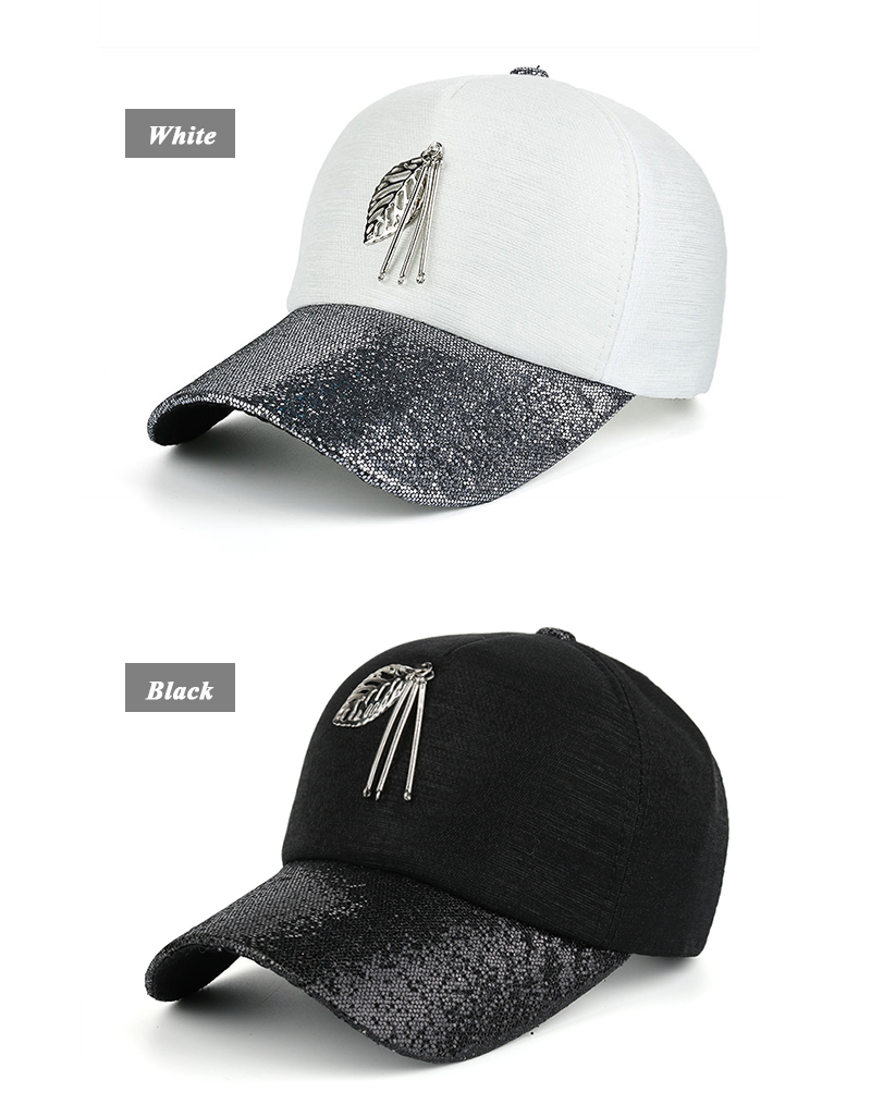 Dangling Leaf Snapback Cap - White Cap with Gray Glitter Brim and Black Cap with Black Glitter Brim Front Angle Views