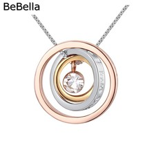BeBella 3 metal color concentric circles pendant necklace made with Czech crystals for 2017 Valentine's Day gift(China)
