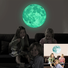30cm Large Moon Glow in the Dark Moonlight Luminous DIY Art Mural Wall Sticker Decals Living Room Home Decor