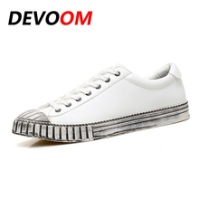 2017 Fashion Old Dirty White Shoes Top Quality Leather Mens Shoes Man Shoes Brand Casual Flat New Summer shoes zapatillas hombre(China)