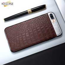 KISSCASE For iPhone 6 7 Case Metal + Leather Back Cover Luxury Protection Flip Phone Holder Bag For Apple iphone 6 7 plus Case