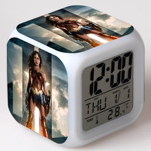 Woden Woman TV Figurines Desk Watch LED Colorful Touch Flashing Light Funny Toys(China)