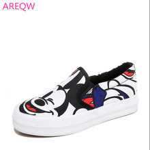 2017 spring autumn new fashion white gray lady canvas shoes Mickey cartoon print platform shoes ladies casual shoes