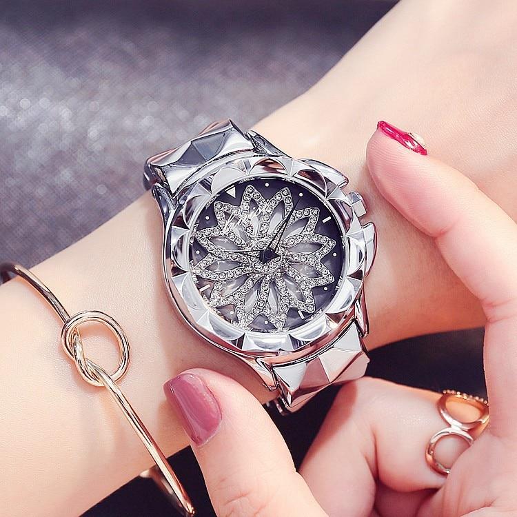 Top-Quality Lady famous Brand Watch Full Diamonds Quartz Watch Women Purple Crystal Stainless Steel Band Watch Bangle Bracelet<br>