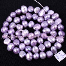 Free Shipping 5-7mm Natural Freeform Purple Freshwater Pearl Gem Stone For DIY Necklace Bracelat Jewelry Making Spacer Beads 14""