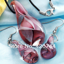 topstore 6Sets/Lot  Purple Lampwork Glass Murano Pendant Necklace Earrings FASHION