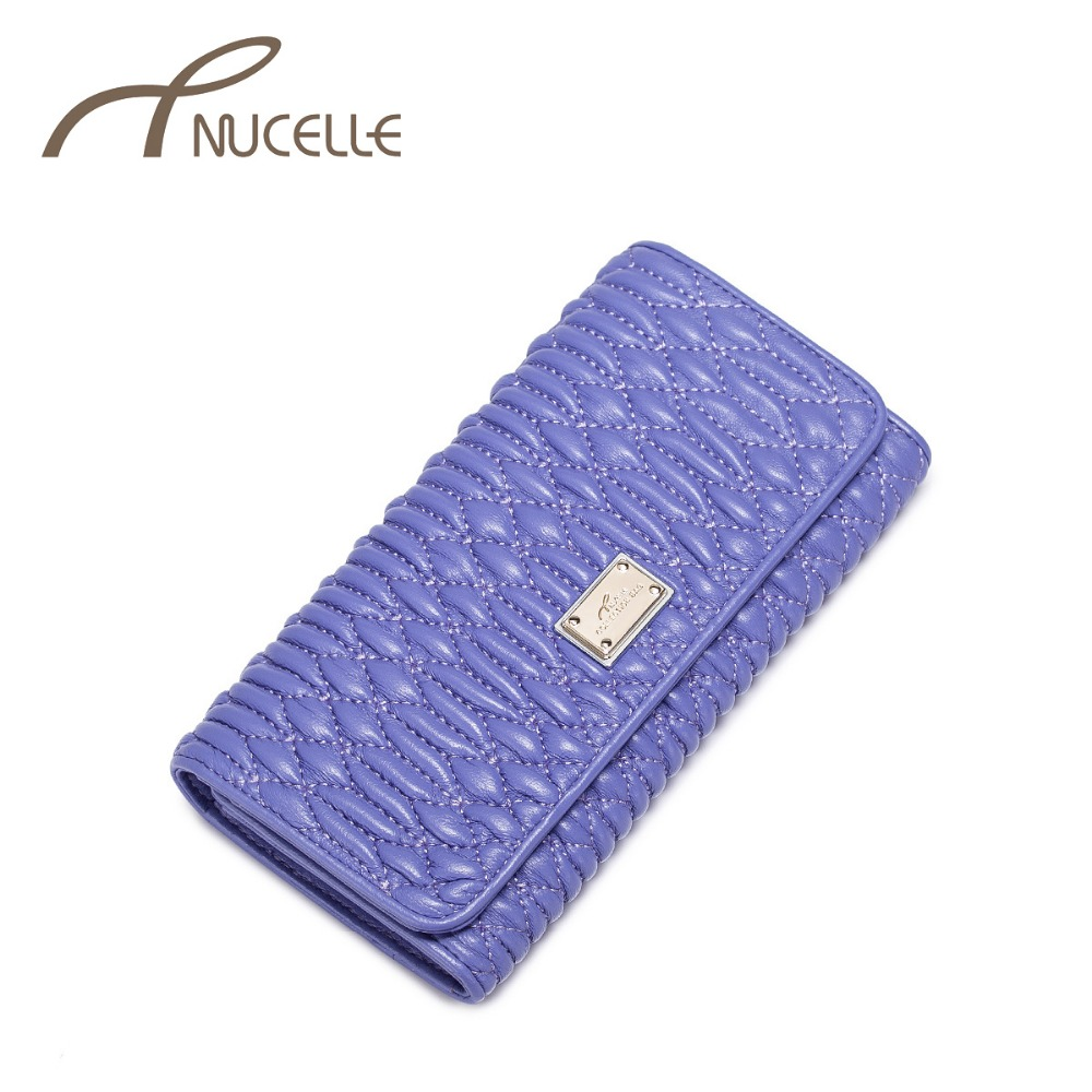 Nucelle Women Genuine Leather Purses Female Fold Embroidered Sewing Sheepskin Wallet Ladies Long Wallets Money Clips NZ5318<br><br>Aliexpress