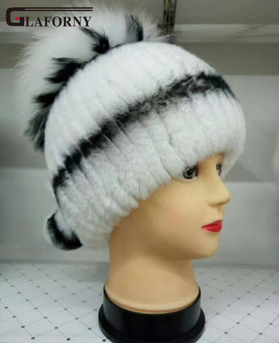 Glaforny 2017 New Genuine Rex Rabbit Fur Hats with Real Fox Fur Pompoms Women Russian Winter Fur Caps Real Fur Skullies BeaniesÎäåæäà è àêñåññóàðû<br><br>