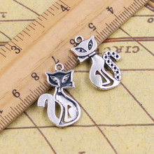 Buy 10pcs Charms cat fox 25*16mm Tibetan Silver Plated Pendants Antique Jewelry Making DIY Handmade Craft for $1.49 in AliExpress store