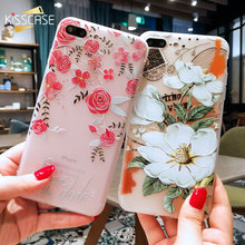 KISSCASE 3D Relief Flower Case For iPhone 8 Plus iPhone 6 Case Sexy Girly Soft Silicon Cover For iPhone 7 iPhone 5S Case(China)