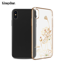 KINGXBAR for iPhone X (10) Phone Cases Authorized Swarovski Crystal Plated PC Back Cover for iPhone X(Ten) 5.8 Inch Capa- Lotus(China)