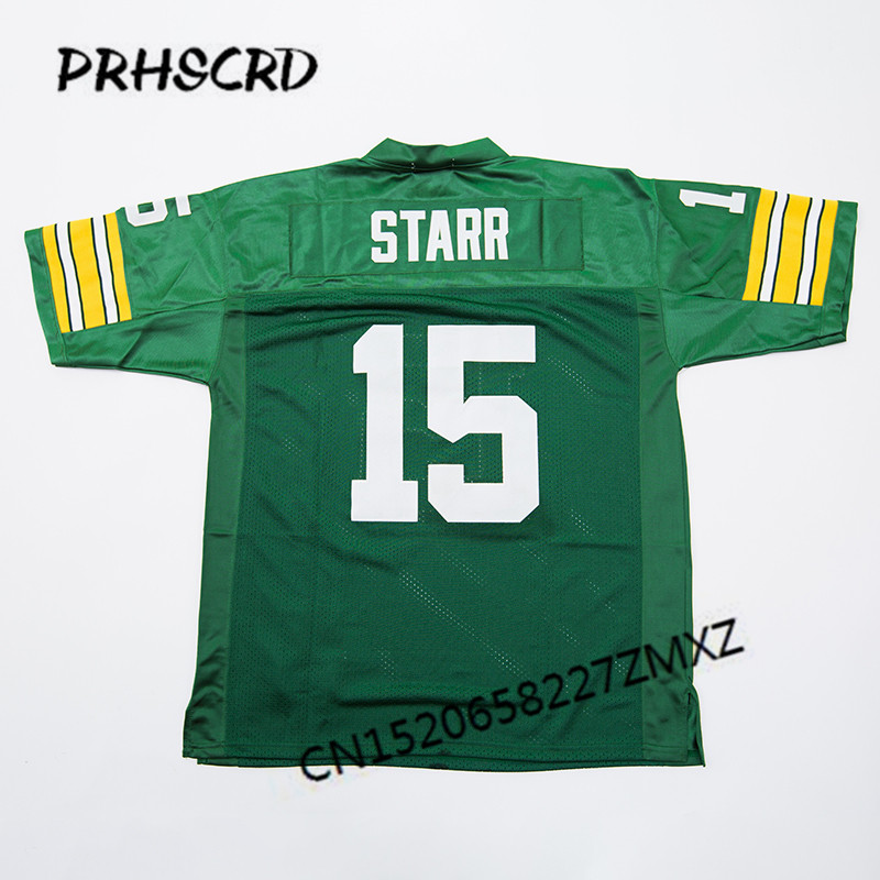 Retro star #15 Bart Starr Embroidered Throwback Football Jersey(China)