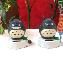 Retail Package 2 Pieces Per Lot Swing Under Full Light No Battery Black Novelty Gifts Happy Rocking Solar Energy Totoro Toys(China)