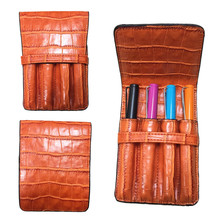 HIGH QUALITY LUXURY Crocodile Skin exquisite orange ROLLER AND FOUNTAIN PENS CASE HOLDER FOR 4 PEN