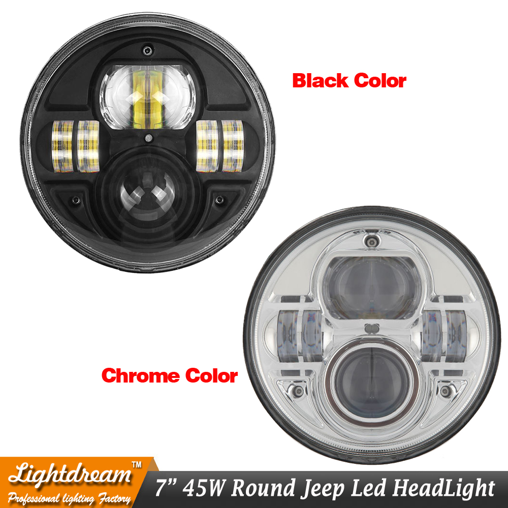 7Inch Round 45W LED Headlights For 97-2016 Wrangler JK LJ TJ FJ Cruiser high Low beam with H4 plug Black Chrome led headlight x1<br><br>Aliexpress