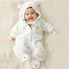 Autumn Winter 5color Newborn Baby Infant Boy Girl Romper Bear Hoodie Solid Cotton Thick Jumpsuit Clothes for 0-9M lowest price