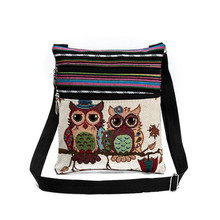 Fashion Women Messenger Bags Lovely Cartoo Dual Zipped Cartoon Owl Embroidered Shopping Dating Ladies Girls Shoulder Bag Popular(China)