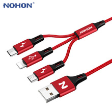2017 NOHON Micro Type C 8pin USB Cable For iPhone 7 6 6S Plus iOS 10 9 8 Android Xiaomi Mi5 3 in 1 Cable Fast Charger Nylon Wire(China)