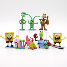 Hot sale 8pcs/lot Spongebob toys action figure doll Patrick star Squidward Tentacles fish tank decoration kids birthday gift