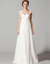 Chiffon Empire Wedding Dress Pleats Sleeveless Off the Shoulder Couture Style Designer Party Bridal Dresses 326315