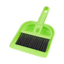 Plastic Computer Keyboard PC Cleaning Brush Dustpan Set Green Black(China)