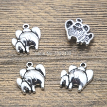 15pcs mother and baby charms silver tone elephant charm pendants 17x16mm