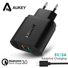 AUKEY Phone Charger Quick Mobile Wall Charger Qualcomm QC 3.0 Universal Dual USB Charger 34.5W Fast Travel Charger for Phone