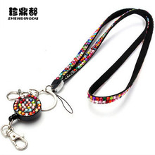 New   2017  Neck Bling Rhinestone Lanyard Retractable Strap ID Badge Reel Phone Key Holder