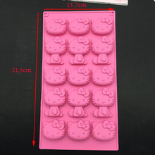 15 Holes Kt Cat Hello Kitty Silicone Chocolate Mold Jelly Pudding Cake Mold Mini Bakeware Pan