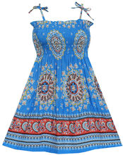 Sunny Fashion Girls Dress Smocked Halter Paisley Blue Cotton 2017 Summer Princess Wedding Party Dresses Kids Clothes Size 2-10