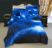3D Galaxy Bedding Sets Universe Outer Space Themed Bedspread 4pcs  bed sheet duvet cover Pillow Case set Twin Queen King Size