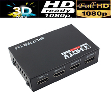 Free shipping 1pcs HDMI splitter 1X4,HDMI splitter 1X2 Distribuidor Hdmi full HD1080P supported with power supply(China)