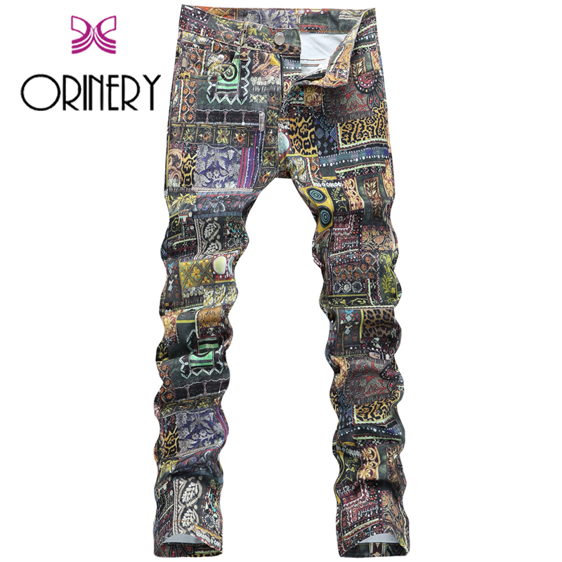 ORINERY 2017 New Arrival Vintage Printed Jeans Men High Quality Winter Straight Jeans Elastic Denim Pants Men Brand ClothingОдежда и ак�е��уары<br><br><br>Aliexpress