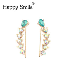 Top Quality New Four-Prong Setting One Pair CZ Diamonds   Ear Hook Stud Earrings Jewelry Earclips Hot Sale