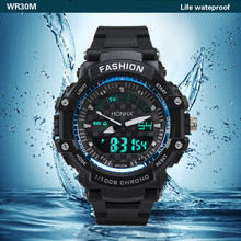 Brand De Luxe Analog Sport LED Digital Sports Waterproof Diving Quartz Wrist Watch Outdoor Equipment LED Display(China)