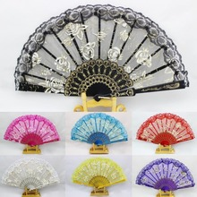 1pcs Hand lace Fans Pocket Folding Bamboo Fan Party Wedding event decoration Fan Weddings Favor and gift event party supplies-B