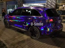 Premium Iridescent Purple Chrome Holographic Vinyl Wrap Sticker Rainbow Vinyl Film Bubble Free Car Styling Size:1.50*20M