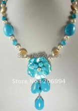 Wholesales Jewelry Pretty handcrafted freshwater pearl blue turquoise necklace free shipping