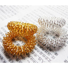 New Style 1PCS Finger Massage Ring Acupuncture Rings Health Care Body Massager Sliver/Gold Steel Finger Massage(China)