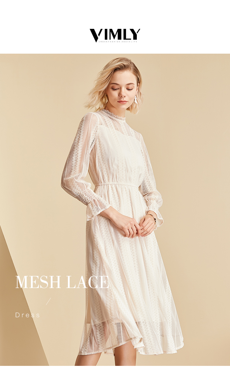 Vimly Elegant Mesh Lace Embroider Women Dress Stand-Neck Flare Sleeve Party Dresses Sexy Midi Elastic Waist Hollow Out Dress 1