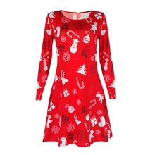 Christmas Casual Women Winter Dress Winter Dresses House One Size Cute Loose Ladies Long Sleeve Vestido Feminino #480(China)