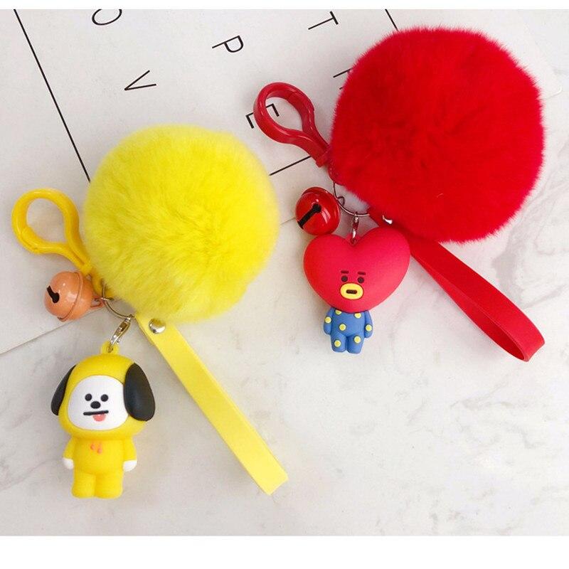 BaoChenYi  BT21 Cute Fur Ball Plush Keychain Tata Chimmy Handbag Charm Pendant Key Holder Chain Accessory For Kid YLM9634