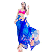 Summer Holiday Girls Print Chiffon Hawaiian Casual Dresses Sexy Women Sarongs  Bikini Cover Up Wraps Beach Sunscreen Scarf