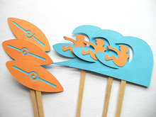 Fashion Surf Party-Beach Party-Surfboard-Surfer cupcake toppers sea wedding cocktail Party Food Picks