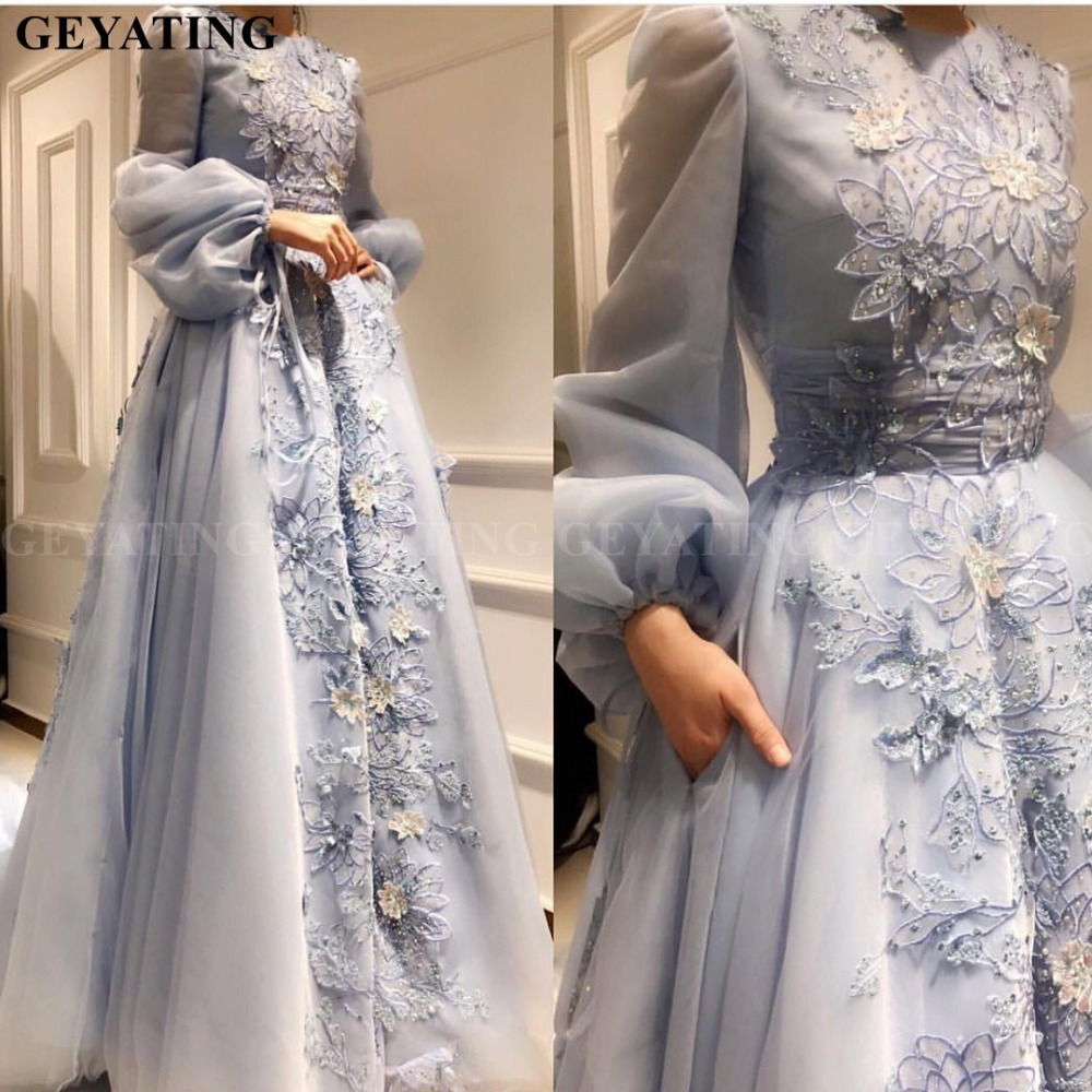 Saudi Arabia Blue 3D Floral Muslim Evening Dress with Pockets Long Sleeves Robe dubai caftan longue 2019 Elegant Prom Dresses(China)