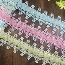 H021 Polyester Soluble Polyester Lace Trim Knitting Wedding Embroidered Diy Handmade Patchwork Ribbon Sewing Supplies Crafts(China)