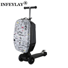 21 inch students scooter suitcase boy cool trolley case 3D extrusion High quality PC separable Travel luggage child Boarding box(China)