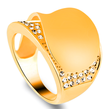 Best quality exaggerated gold color finger rings for women female zircon crystal thumb rings big wedding jewelry accessories